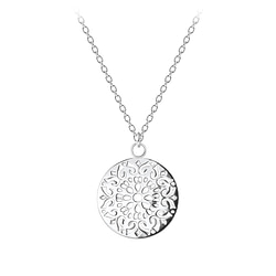 Wholesale Sterling Silver Round Filigree Necklace - JD8339
