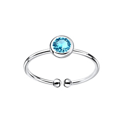 Wholesale 5mm Sterling Silver Open Ring with Crystal - JD8997
