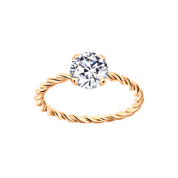 Wholesale 6mm Round Cubic Zirconia Sterling Silver Twisted Band Solitaire Ring - JD4708
