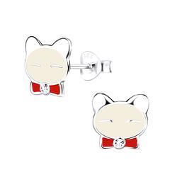 Wholesale Sterling Silver Cat Ear Studs - JD9369
