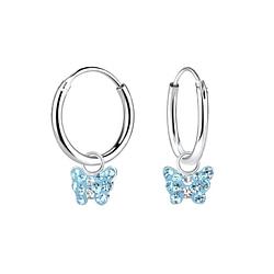 Wholesale Sterling Silver Butterfly Charm Ear Hoops - JD8407