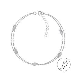 Wholesale Sterling Silver Leaf Constellation Anklet - JD7975