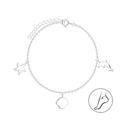 Wholesale Sterling Silver Ocean Life Anklet - JD8111