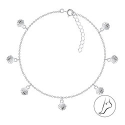 Wholesale 24cm Sterling Silver Shell Charm Anklet with Extension - JD8373
