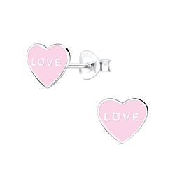 Wholesale Sterling Silver Heart Ear Studs - JD9288