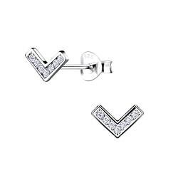 Wholesale Sterling Silver Chevron Ear Studs - JD8719