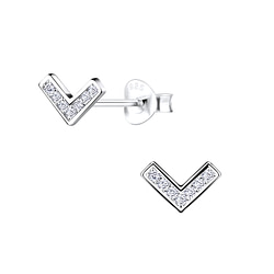 Wholesale Sterling Silver Chevron Ear Studs - JD9610