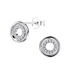 Wholesale Sterling Silver Circle Ear Studs - JD9558