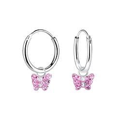 Wholesale Sterling Silver Butterfly Charm Ear Hoops - JD8406