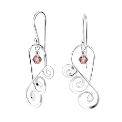 Wholesale Sterling Silver Spiral Earrings with Glass Bead - JD7121