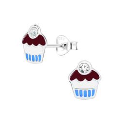 Wholesale Sterling Silver Cupcake Ear Studs - JD1561