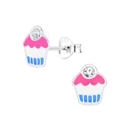 Wholesale Sterling Silver Cupcake Ear Studs - JD1560