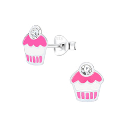 Wholesale Sterling Silver Cupcake Ear Studs - JD1562