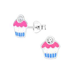 Wholesale Sterling Silver Cupcake Ear Studs - JD1565