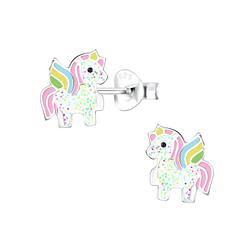 Wholesale Sterling Silver Unicorn Ear Studs - JD6888