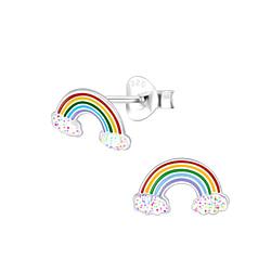Wholesale Sterling Silver Rainbow Glitter Ear Studs - JD2046