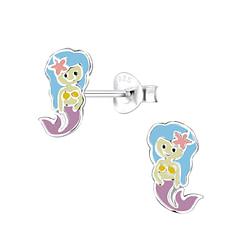Wholesale Sterling Silver Mermaid Ear Studs - JD8052