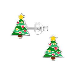 Wholesale Sterling Silver Christmas Tree Ear Studs - JD8361