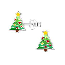 Wholesale Sterling Silver Christmas Tree Ear Studs - JD8362