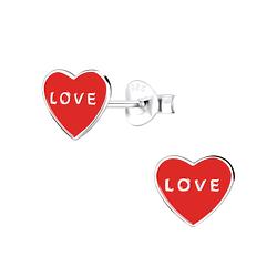 Wholesale Sterling Silver Heart Ear Studs - JD9407