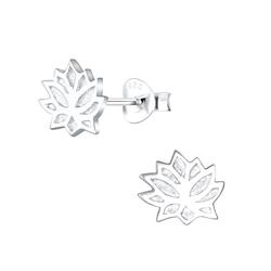 Wholesale Sterling Silver Lotus Flower Ear Studs - JD5486