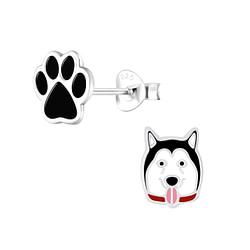 Wholesale Sterling Silver Dog Lovers Ear Studs - JD9941
