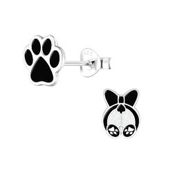 Wholesale Sterling Silver Dog Lovers Ear Studs - JD9942