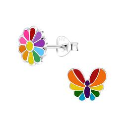 Wholesale Sterling Silver Rainbow Ear Studs - JD9945