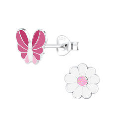 Wholesale Sterling Silver Butterfly and Flower Ear Studs - JD9946