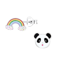 Wholesale Sterling Silver Rainbow and Panda Ear Studs - JD9947