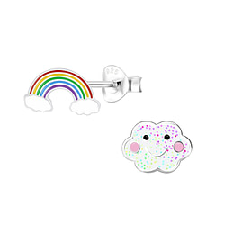 Wholesale Sterling Silver Rainbow and Cloud Ear Studs - JD9948