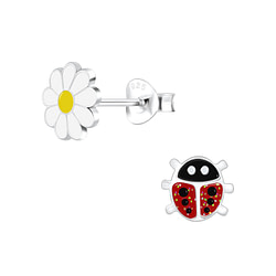 Wholesale Sterling Silver Ladybug and Flower Ear Studs - JD9949