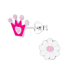 Wholesale Sterling Silver Crown and Flower Ear Studs - JD9950