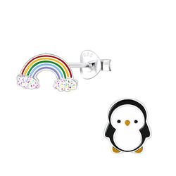 Wholesale Sterling Silver Rainbow and Penguin Ear Studs - JD9951