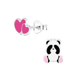 Wholesale Sterling Silver Panda Lovers Ear Studs - JD9952
