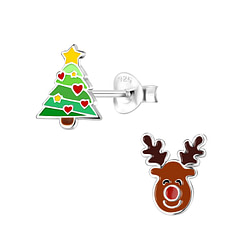 Wholesale Sterling Silver Christmas Holiday Ear Studs - JD9953
