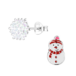 Wholesale Sterling Silver Christmas Holiday Ear Studs - JD9956