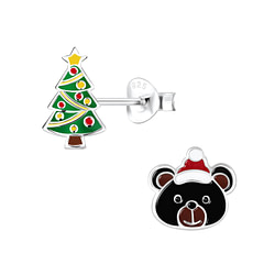 Wholesale Sterling Silver Christmas Holiday Ear Studs - JD9957