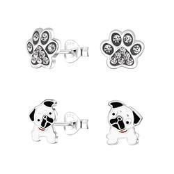 Wholesale Sterling Silver Dog Lovers Ear Studs Set - JD9967