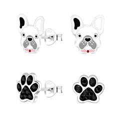 Wholesale Sterling Silver Dog Lovers Ear Studs Set - JD9968
