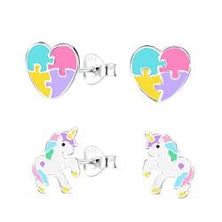 Wholesale Sterling Silver Unicorn Lovers Ear Studs Set - JD9963