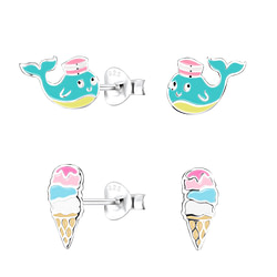 Wholesale Sterling Silver Colorful Ear Studs Set - JD9973