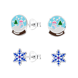 Wholesale Sterling Silver Christmas Holiday Ear Studs - JD9976