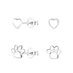 Wholesale Sterling Silver Dog Lovers Ear Studs Set - JD9977