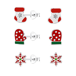 Wholesale Sterling Silver Christmas Holiday Ear Studs Set - JD9969