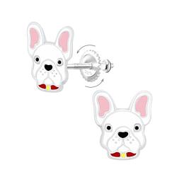 Wholesale Sterling Silver Dog Screw Back Ear Studs - JD9366