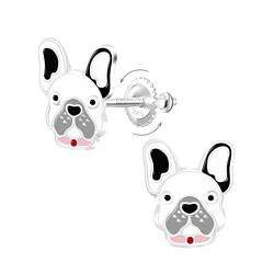 Wholesale Sterling Silver Dog Screw Back Ear Studs - JD9367