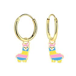Wholesale Sterling Silver Alpaca Charm Ear Hoops - JD4633