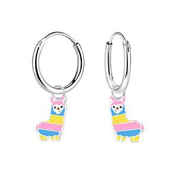 Wholesale Sterling Silver Alpaca Charm Ear Hoops - JD4632