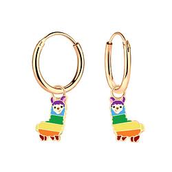 Wholesale Sterling Silver Alpaca Charm Ear Hoops - JD4630